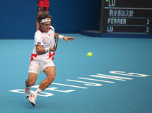 David Ferrer in action at the 2010 China Open Royalty Free Stock Photography