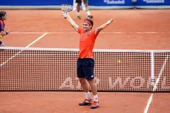 David Ferrer (jugador de tenis español) celebra una victoria en el ATP Barcelona Imagen de archivo libre de regalías
