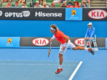 David Ferrer playing in the Australian Open Stock Photos