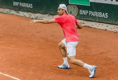 David Ferrer practice, Roland Garros 2014. Paris, France - May 30, 2014: David Ferrer of Spain practices at French Open, Roland Garros on May 30, 2014 in Paris Royalty Free Stock Photos