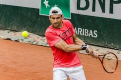David Ferrer practice, Roland Garros 2014. Paris, France - May 30, 2014: David Ferrer of Spain practices at French Open, Roland Garros on May 30, 2014 in Paris Stock Photo