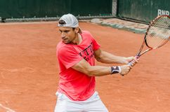 David Ferrer practice, Roland Garros 2014. Paris, France - May 30, 2014: David Ferrer of Spain practices at French Open, Roland Garros on May 30, 2014 in Paris Stock Image