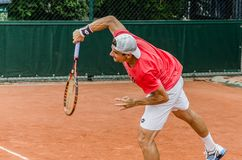 David Ferrer practice, Roland Garros 2014 Royalty Free Stock Images