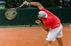 David Ferrer practice, Roland Garros 2014. Paris, France - May 30, 2014: David Ferrer of Spain practices at French Open, Roland Garros on May 30, 2014 in Paris Stock Images