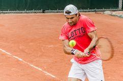 David Ferrer practice, Roland Garros 2014. Paris, France - May 30, 2014: David Ferrer of Spain practices at French Open, Roland Garros on May 30, 2014 in Paris Royalty Free Stock Photo