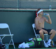 David Ferrer takes a break from practice Stock Photography