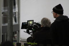 David Fincher and cameraman during the making of the movie The Girl with the dragon tattoo