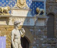 David in Florence`s Piazza della Signoria Stock Photos