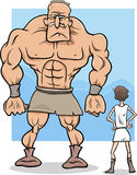 David and goliath cartoon illustration Stock Photos