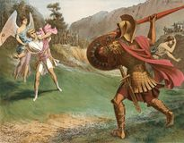David and Goliath. These images are public domain. Illustration for the Emperor Nicholas 1. Paris 1841 Royalty Free Stock Image