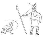 David and Goliath Line Art Royalty Free Stock Photo