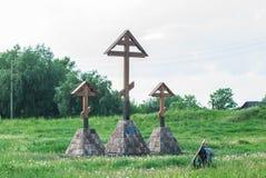 David-Gorodok, Belarus-peut 16, 2018 croix sur la colline de château Photos libres de droits