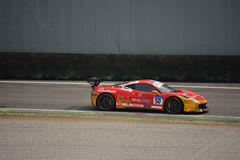 David Gostner Ferrari 458 Challenge Evo at Monza. David Gostner drives his Ferrari 458 Challenge Evo during the first race of Pirelli Trophy 2016 for Ineco - MP Royalty Free Stock Photos
