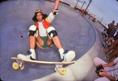 David Hackett on the edge. Pro skateboarder, David Hackett on the edge in the pool at Marina Del Rey skate park in Californa, October 1978 Stock Photos
