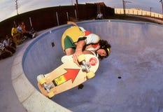 David Hackett pool riding. Pro skateboarder, David Hackett on the edge in the pool at Marina Del Rey skate park in Californa, October 1978 Stock Photography