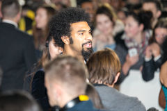 David Haye. With journalists, Leeds First Direct Arena, UK Stock Image