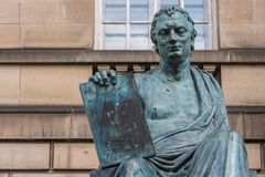 David Hume-standbeeld, Edinburgh Schotland het UK royalty-vrije stock fotografie