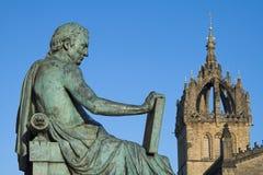 David Hume y catedral del St Giles, Edimburgo Foto de archivo libre de regalías