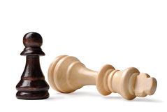 David i Goliath syndrom w szachy Zdjęcia Royalty Free