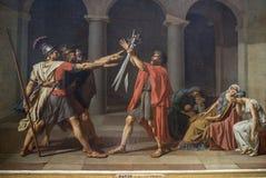 David Jacques Louis Juramento do Horatii 1784 Grelha imagens de stock