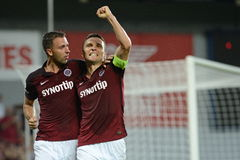 David Lafata celebrate His goal with Josef Husbauer. PRAGUE 10 / AUG / 2015 _ 3.round of Czech soccer league Between AC Sparta Praha and FC Zlín Fastav royalty free stock image