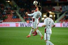 David Lafata and Valerijs Sabala. Prague 28.03.2015 _ Match of the EURO 2016 qualification group A Czech Republic - Latvia 1: 1 0: 1. Goals 90 'Pilar - 30' Viš Royalty Free Stock Photo