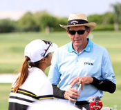 David Leadbetter and Lydia Ko at the ANA inspiration golf tournament 2015 Royalty Free Stock Image