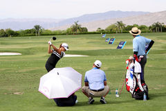 David Leadbetter and Lydia Ko at the ANA inspiration golf tournament 2015 Royalty Free Stock Images