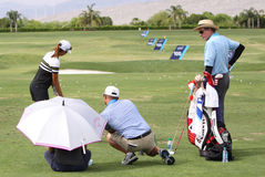 David Leadbetter and Lydia Ko at the ANA inspiration golf tournament 2015 Royalty Free Stock Photos