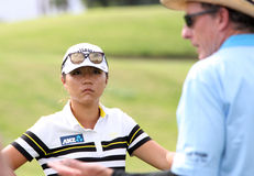 David Leadbetter and Lydia Ko at the ANA inspiration golf tournament 2015 Royalty Free Stock Photography
