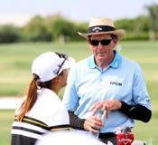David Leadbetter och Lydia Ko på turneringen 2015 för ANA inspirationgolf royaltyfri bild