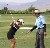 David Leadbetter och Lydia Ko på turneringen 2015 för ANA inspirationgolf royaltyfri fotografi