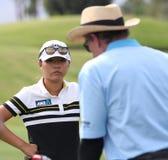 David Leadbetter y Lydia Ko en la inspiración de la ANECDOTARIO golf el torneo 2015 imágenes de archivo libres de regalías