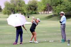 David Leadbetter y Lydia Ko en la inspiración de la ANECDOTARIO golf el torneo 2015 fotos de archivo libres de regalías