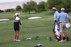 David Leadbetter y Lydia Ko en la inspiración de la ANECDOTARIO golf el torneo 2015 fotografía de archivo