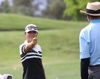 David Leadbetter y Lydia Ko en la inspiración de la ANECDOTARIO golf el torneo 2015 foto de archivo libre de regalías