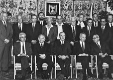 David Levy, Yitzhak Shamir, Chaim Herzog, Shimon Peres, et Yitzhak Navon Image libre de droits