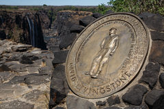 David Livingstone plakieta - Wiktoria spadki, Afryka Fotografia Stock