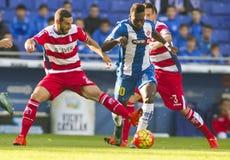David Lomban of Granada CF and Felipe Caicedo of RCD Espanyol Royalty Free Stock Image