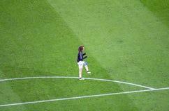 David Luiz en la acción antes del betw del partido de liga de los campeones de UEFA Foto de archivo libre de regalías
