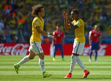 David Luiz and Luiz Gustavo Coupe du Monde 2014 Stock Image