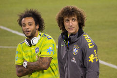 David Luiz and Marcelo. This image shows Brazil and Paris Saint-Germain defender and superstar David Luiz and Brazil and Real Madrid superstar Marcelo during the stock images