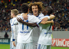 David Luiz, Ramires and Oscar of Chelsea goal celebration Royalty Free Stock Photo