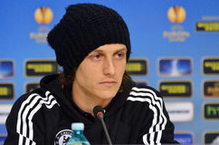 David Luiz von Chelsea Press Conference Stockbild