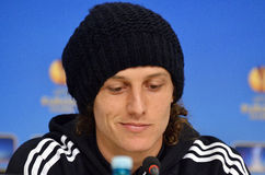 David Luiz von Chelsea Press Conference Stockbilder