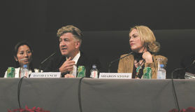 David Lynch & Sharon Stone royaltyfria bilder