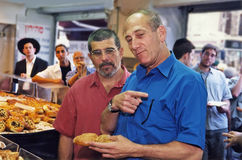 David Mamet and Ehud Olmert. Then Jerusalem, Israel, mayor Ehud Olmert, plays tour guide to American playwright David Mamet in July, 1993.  Here he describes the Royalty Free Stock Photography