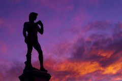 David of Michelangelo at sunset. Stock Photos