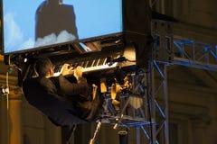 David Moreno y su piano flotante Imágenes de archivo libres de regalías