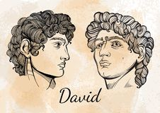 David. The mythological hero of ancient Greece. Hand-drawn beautiful vector artwork isolated. Myths and legends. Tattoo art. David. The mythological hero of stock illustration